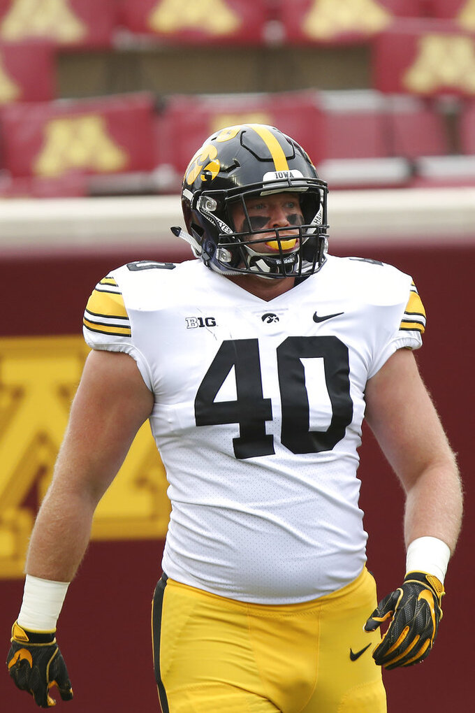 Iowa's Parker Hesse during the first half of a college football game Saturday, Oct. 6, 2018, inMinneapolis. (AP Photo/Stacy Bengs)