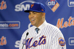 The new New York Mets manager, Carlos Beltran, speaks during a baseball news conference at Citi Field, Monday, Nov. 4, 2019, in New York.  (AP Photo/Seth Wenig)