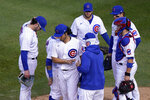 Chicago Cubs' Yu Darvish is removed by manager David Ross during the seventh inning in Game 2 of a National League wild-card baseball series Friday, Oct. 2, 2020, in Chicago. (AP Photo/Nam Y. Huh)