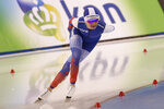 Russia's Natalia Voronina competes in the women's 5,000 meters during the world single distances speedskating championships Saturday, Feb. 15, 2020, in Kearns, Utah. (AP Photo/Rick Bowmer)