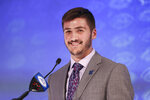 Duke quarterback Gunnar Holmberg answers a question during an NCAA college football news conference at the Atlantic Coast Conference media days in Charlotte, N.C., Wednesday, July 21, 2021. (AP Photo/Nell Redmond)