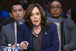 Senate Judiciary Committee member Sen. Kamala Harris, D-Calif., makes her argument against advancing the nomination of Bill Barr to be attorney general, on Capitol Hill in Washington, Thursday, Feb. 7, 2019. (AP Photo/J. Scott Applewhite)