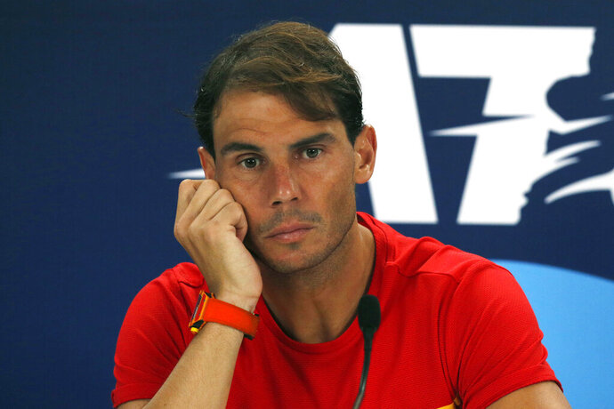 Rafael Nadal of Spain holds a press conference after losing to Novak Djokovic of Serbia during their ATP Cup tennis match in Sydney, Sunday, Jan. 12, 2020. (AP Photo/Steve Christo)