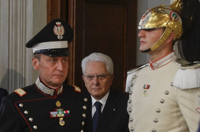 Italian President Sergio Mattarella arrives at Rome's Quirinale Presidential Palace, Wednesday, Sept. 4, 2019. The Italian presidential palace says Premier Giuseppe Conte has formed a new government, a coalition of the populist 5-Star Movement and left-leaning Democrats that shuts out of power right-wing leader Matteo Salvini. (AP Photo/Gregorio Borgia)