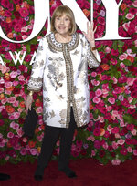 """FILE - In this Sunday, June 10, 2018 file photo, Britain's Diana Rigg arrives at the 72nd annual Tony Awards at Radio City Music Hall in New York. Actress Diana Rigg, who became a 1960s style icon as secret agent Emma Peel in TV series """"The Avengers,"""" has died at age 82. Rigg's agent Simon Beresford says she died Thursday Sept. 10, 2020 at home with her family. (Photo by Evan Agostini/Invision/AP, File)"""