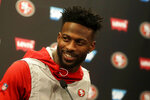 San Francisco 49ers wide receiver Emmanuel Sanders speaks during a news conference at the team's NFL football training facility in Santa Clara, Calif., Thursday, Jan. 23, 2020. The 49ers will face the Kansas City Chiefs in Super Bowl 54. (AP Photo/Jeff Chiu)