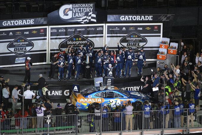 William Byron (24) celebrates in Victory Lane after winning the second of two NASCAR Daytona 500 qualifying auto races at Daytona International Speedway, Thursday, Feb. 13, 2020, in Daytona Beach, Fla. (AP Photo/Phelan M. Ebenhack)