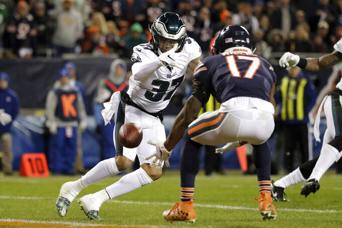 FILE - In this Jan. 6, 2019, file photo, Chicago Bears wide receiver Anthony Miller (17) misses a catch under pressure from Philadelphia Eagles defensive back Tre Sullivan (37) during the first half of an NFL wild-card playoff football game, in Chicago. When injuries ravaged the secondary, the Philadelphia Eagles turned to inexperienced guys and castoffs. The no-names are making themselves known.(AP Photo/Nam Y. Huh, File)