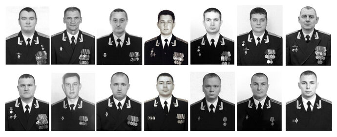 The combo of photos of the 14 crew members who died in a fire on a Russian navy's deep-sea research submersible, distributed on July 4, 2019, by Russian Defense Ministry Press Service, shows from a top row: Captain 1st rank Denis Dolonsky, Captain 1st rank Nikolay Filin, Captain 1st rank Vladimir Abankin, Captain 1st rank Andrei Voskresensky, Captain 1st rank Anatoly Ivanov, Captain 1st rank Denis Oparin, Captain 1st rank Konstantin Somov, Bottom row: Captain 2nd rank Alexander Avdonin, Captain 2nd rank Sergei Danilchenko, Captain 2nd rank Dmitry Solovyov, medical service Colonel Alexander Vasilyev, Captain 3rd rank Viktor Kuzmin, Captain 3rd rank Vladimir Sukhinichev, Lt. Captain Mikhail Dubkov. The Defense Ministry said the 14 seamen were killed by toxic fumes from the blaze. (Russian Defense Ministry Press Service via AP)