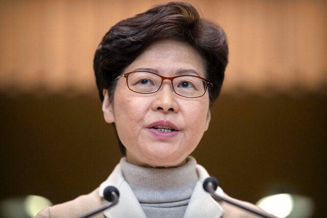 "FILE- In this Dec. 10, 2019, file photo, Hong Kong Chief Executive Carrie Lam speaks during a news conference at the Office of the Chief Executive in Hong Kong. Months of pro-democracy protests in Hong Kong have brought ""sadness, anxiety, disappointment and even rage,"
