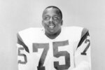 "FILE - This is a 1966 file photo showing Los Angeles Rams football player David ""Deacon"" Jones. Rams defensive end Deacon Jones might have been the most feared player in the league after being drafted in the 14th round in 1961 out of South Carolina State. (AP Photo/File)"