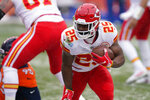 Kansas City Chiefs running back Clyde Edwards-Helaire runs for a touchdown during the first half of an NFL football game against the Denver Broncos, Sunday, Oct. 25, 2020, in Denver. (AP Photo/David Zalubowski)