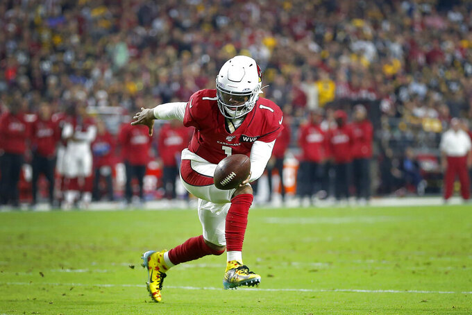 Arizona Cardinals quarterback Kyler Murray (1) runs against the Pittsburgh Steelers during the first half of an NFL football game, Sunday, Dec. 8, 2019, in Glendale, Ariz. (AP Photo/Rick Scuteri)