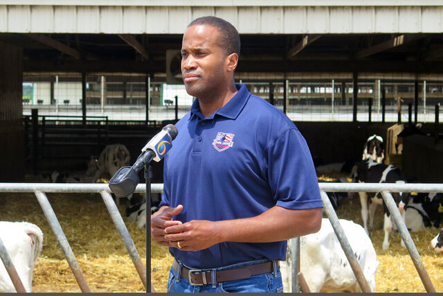 Republican U.S. Senate candidate John James speaks on Monday, June 22, 2020, at Weir Farms in Hanover Township, Mich. He resumed in-person campaign events after months of sticking with virtual events. (AP Photo/David Eggert)