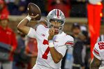 Ohio State quarterback C.J. Stroud (7) passes against Minnesota in the first quarter of an NCAA college football game Thursday, Sept. 2, 2021, in Minneapolis. (AP Photo/Bruce Kluckhohn)
