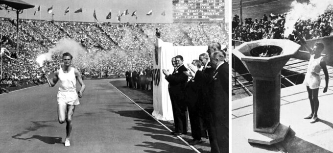 British athlete John Mark runs with the Olympic flame, left, and on right, lights the cauldron during the opening ceremony of the XIV Olympiad, in Wembley Stadium, London on July 29, 1948. (AP Photo)