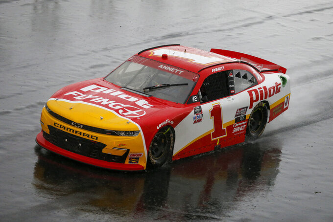 Michael Annett competes in the NASCAR Xfinity Series auto race at Charlotte Motor Speedway in Concord, N.C., Saturday, Oct. 10, 2020. (AP Photo/Nell Redmond)