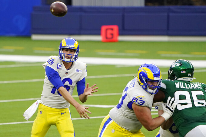 Los Angeles Rams quarterback Jared Goff throws against the New York Jets during the first half of an NFL football game Sunday, Dec. 20, 2020, in Inglewood, Calif. (AP Photo/Jae C. Hong)
