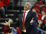 UNLV coach Marvin Menzies gestures during the second half of the team's NCAA college basketball game against Nevada on Tuesday, Jan. 29, 2019, in Las Vegas. Nevada won 87-70. (AP Photo/John Locher)