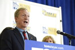 Democratic presidential candidate Tom Steyer speaks during a news conference introducing his campaign plan for historically black colleges and universities on Tuesday, Dec. 10, 2019, at Allen University in Columbia, S.C. (AP Photo/Meg Kinnard)