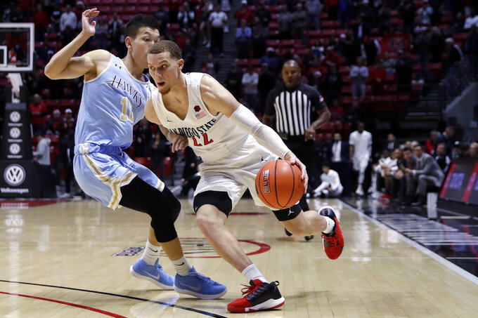 San Diego State's Flynn Malachi, right, drives past San Diego Christian's Zhang Weijie during the first half of an NCAA college basketball game Wednesday, Dec. 18, 2019, in San Diego. (AP Photo/Gregory Bull)