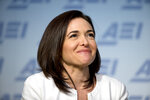 File-This June 22, 2016, file photo shows Facebook Chief Operating Officer Sheryl Sandberg speaking at the American Enterprise Institute in Washington. Sandberg and Twitter CEO Jack Dorsey won't stand for re-election to the board of The Walt Disney Co. A Disney spokesperson says it has become