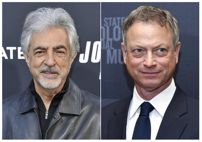 """This combination photo shows actors Joe Mantegna at a special screening of """"John Wick: Chapter 3 - Parabellum"""" in Los Angeles on May 15, 2019, left, and Gary Sinise at the Los Angeles Dinner: What You Do Matters at the Beverly Hilton Hotel in Beverly Hills, Calif. on March 16, 2015 photo.  Mantegna and Sinise will host PBS' annual Memorial Day weekend concert. (AP Photo)"""