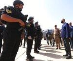 TAKES OUT REFERENCE TO DESIGNATE -Iraqi Prime Minister Mustafa al-Kahdimi, right, arrives to Mosul, Iraq, Wednesday, June 10, 2020. (Iraqi Prime Minister Media Office, via AP)