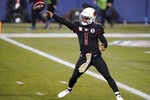 Arizona Cardinals quarterback Kyler Murray (1) passes against the Seattle Seahawks during the second half of an NFL football game, Thursday, Nov. 19, 2020, in Seattle. (AP Photo/Elaine Thompson)