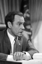 FILE - In this Dec. 8, 1978, file photo, actor Rip Torn plays Richard Nixon during the filming of