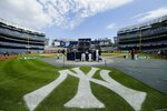 The New York Yankees take batting practice during a baseball team workout Wednesday, Oct. 2, 2019, at Yankee Stadium in New York. Yankees will host the Minnesota Twins in the first game of an American League Division Series on Friday. (AP Photo/Frank Franklin II)