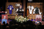 Purdue quarterback David Blough speaks during a funeral for Tyler Trent at College Park Church, Tuesday, Jan. 8, 2019, in Indianapolis. Trent, an avid Purdue fan, died on New Year's Day following a bout with bone cancer. (AP Photo/Darron Cummings, Pool)