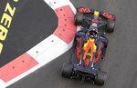 Red Bull driver Max Verstappen of the Netherlands steers his car during the Formula One Grand Prix at the Baku Formula One city circuit in Baku, Azerbaijan, Sunday, June 6, 2021. (AP Photo/Darko Vojinovic)