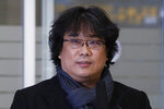 South Korean director Bong Joon-ho speaks upon his arrival at the Incheon International Airport in Incheon, South Korea, Sunday, Feb. 16, 2020. South Koreans are reveling in writer-director Bong's dark comic thriller,
