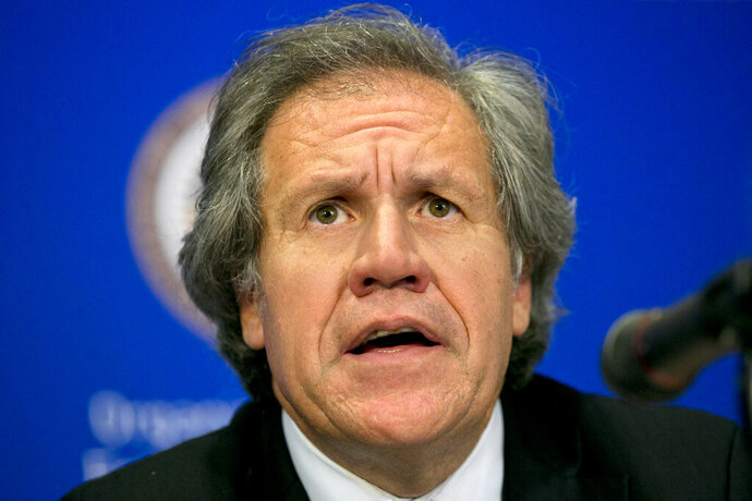 FILE - In this June 16, 2015 file photo, Organization of American States, OAS, Secretary-General Luis Almagro gives a news conference at the 45th OAS General Assembly, in Washington. (AP Photo/Jacquelyn Martin, File)