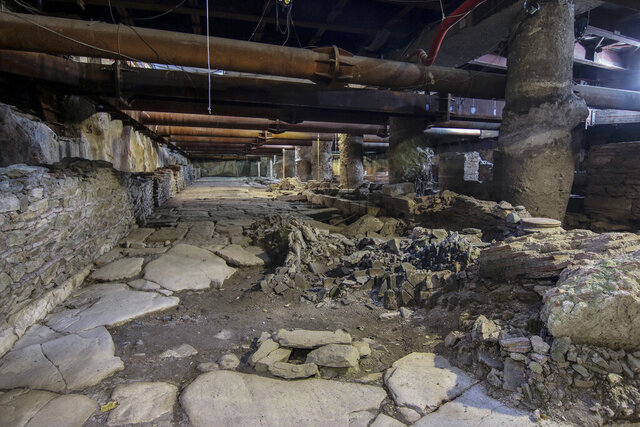 In this 29, Dec, 2015 photo is seen an ancient roman road in a subway under construction at the port city of Thessaloniki, Greece. Greece's Central Archaeological Council ruled on Thursday Dec. 19, 2019, that this section of an ancient Roman road in the northern city of Thessaloniki should be removed to make way for construction of the city's long-delayed subway, in a controversial case that has led to outrage among some experts. (Fani Tripsani /Eurokinissi via AP)