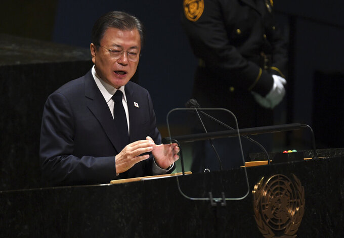 Moon Jae-in, President, Republic of Korea during the 76th Session of the General Assembly at UN Headquarters Tuesday, Sept. 21, 2021 (Timothy A. Clary/Pool Photo via AP)
