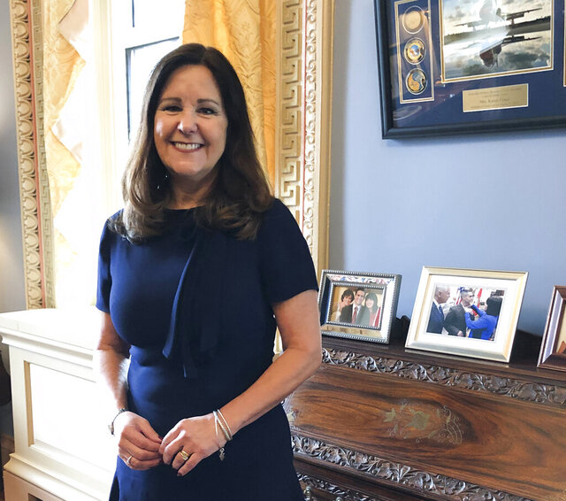 Karen Pence, wife of Vice President Mike Pence, poses for a photograph in her office in the Eisenhower Executive Office Building, on the White House campus, Friday, Jan. 31, 2020, in Washington. (AP Photo/Darlene Superville)