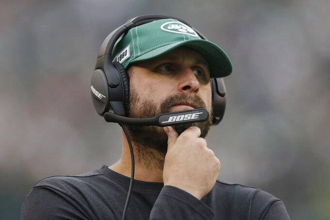 FLE - In this Oct. 6, 2019, file photo, New York Jets head coach Adam Gase is shown during an NFL football game against the Philadelphia Eagles in Philadelphia. The NFL Draft takes place April 23-25, 2020. (AP Photo/Matt Rourke, File)