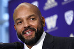 Washington NCAA college football defensive coordinator Jimmy Lake speaks about taking over the head coaching position from Chris Petersen during a news conference, Tuesday, Dec. 3, 2019, in Seattle. Petersen unexpectedly resigned on Monday, a shocking announcement with the Huskies coming off a 7-5 regular season and bound for a sixth straight bowl game under his leadership. Petersen will coach Washington in a bowl game, his final game in charge. (AP Photo/Elaine Thompson)