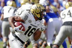 Vanderbilt wide receiver Kalija Lipscomb runs for yardage against Florida during the first half of an NCAA college football game, Saturday, Nov. 9, 2019, in Gainesville, Fla. (AP Photo/John Raoux)