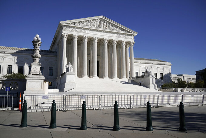 FILE - In this Nov. 4, 2020 photo, The Supreme Court in Washington. (AP Photo/J. Scott Applewhite)