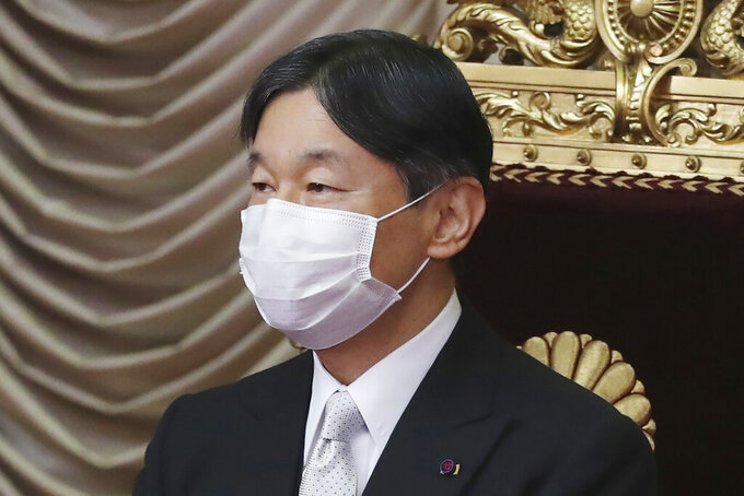 """FILE - In this Oct. 26, 2020, file photo, Japan's Emperor Naruhito wearing a face mask to protect against the coronavirus attends to formally open an extraordinary Diet session at the upper house of parliament in Tokyo. Naruhito appears to be """"extremely worried"""" about the possibility the Tokyo 2020 Olympics and Paralympics could trigger the spread of the coronavirus as feared by many people, head of Japanese imperial palace said Thursday, June 24, 2021 with the games coming up in one month. (AP Photo/Koji Sasahara, File)"""