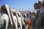 Nuns listen to Pope Francis Angelus reciting the Angelus noon prayer in St. Peter's Square at the Vatican, Sunday, Sept. 6, 2020. (AP Photo/Gregorio Borgia)