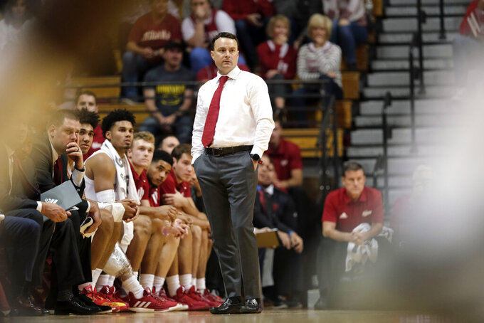 Indiana head coach Archie Miller watches from the sideline as his team plays Western Illinois in the second half of an NCAA college basketball game in Bloomington, Ind., Tuesday, Nov. 5, 2019. Indiana won 98-65. (AP Photo/AJ Mast)