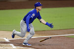 CORRECTS NAME TO HOERNER, INSTEAD OF HOEMER - Chicago Cubs' Nico Hoerner hits a single during the second inning of a baseball game against the San Diego Padres, Monday, Sept. 9, 2019, in San Diego. (AP Photo/Gregory Bull)