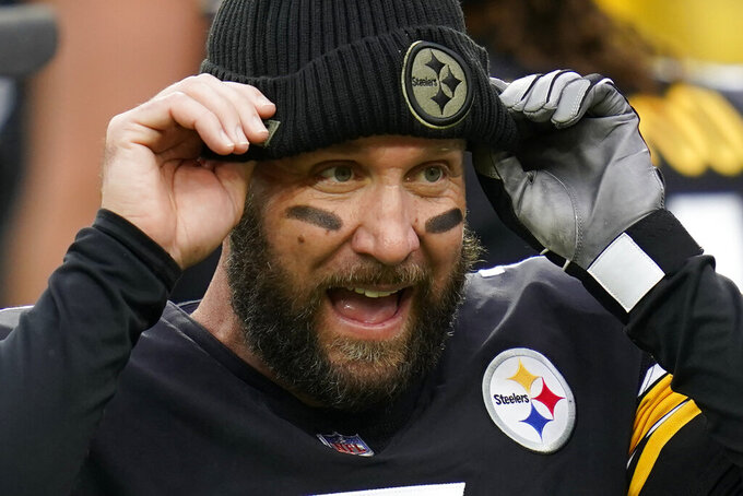 Pittsburgh Steelers quarterback Ben Roethlisberger (7) pulls on a cap during warmups before an NFL football game against the Cincinnati Bengals, Sunday, Nov. 15, 2020, in Pittsburgh. (AP Photo/Keith Srakocic)