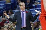 Toronto Raptors coach Nick Nurse reacts to a call against the New Orleans Pelicans during the first half of an NBA basketball game in New Orleans, Friday, Nov. 8, 2019. (AP Photo/Matthew Hinton)