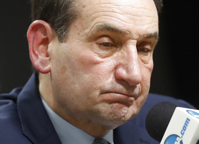 Duke head coach Mike Krzyzewski pauses while answering questions at a news conference after losing to Michigan State in a NCAA men's East Regional final collage basketball game in Washington, Sunday, March 31, 2019. Michigan State won 68-67. (AP Mark Tenally}