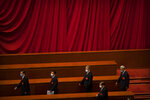 Delegates arrive for the closing session of China's National People's Congress (NPC) at the Great Hall of the People in Beijing, Thursday, May 28, 2020. China's ceremonial legislature has endorsed a national security law for Hong Kong that has strained relations with the United States and Britain. (AP Photo/Mark Schiefelbein)